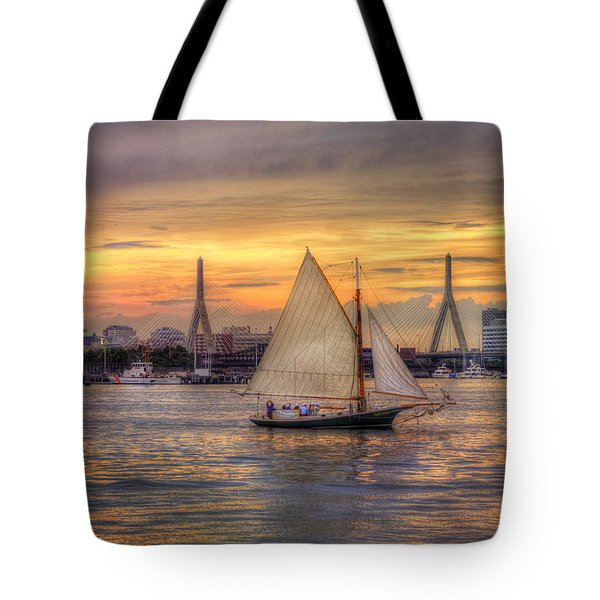 Boston Harbor Sunset Sail Tote Bag