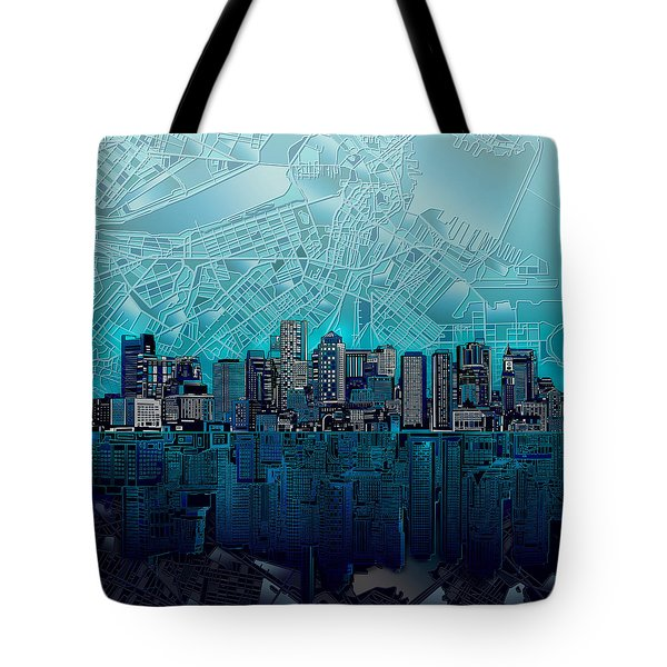 Boston Skyline Abstract Blue Tote Bag