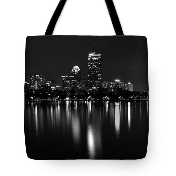 Boston Skyline By Night - Black And White Tote Bag