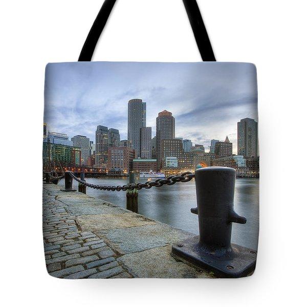Boston Skyline Sunset Tote Bag