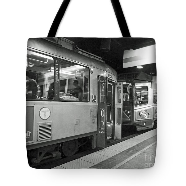 Tote Bag featuring the photograph Boston Subway by Cheryl Del Toro