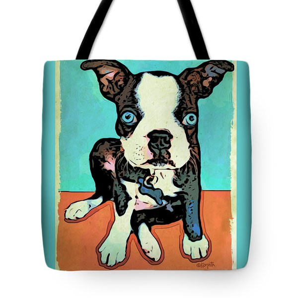 Boston Terrier - Blue Tote Bag