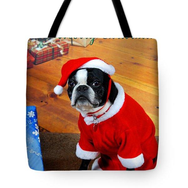 Boston Terrier Christmas Tote Bag