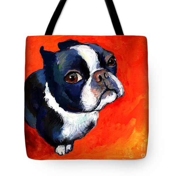 Boston Terrier Dog Painting Prints Tote Bag by Svetlana Novikova