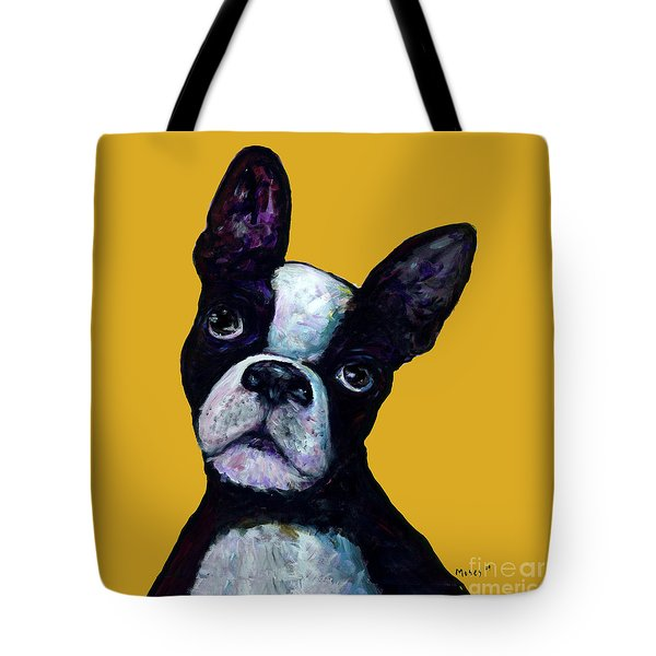 Boston Terrier On Yellow Tote Bag