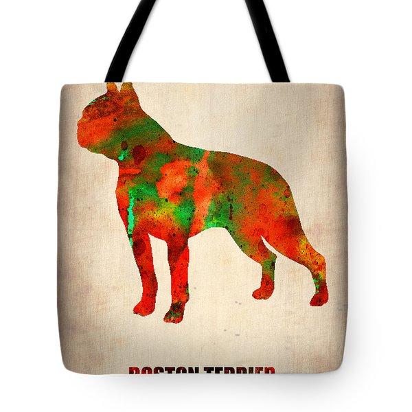 Boston Terrier Poster Tote Bag by Naxart Studio