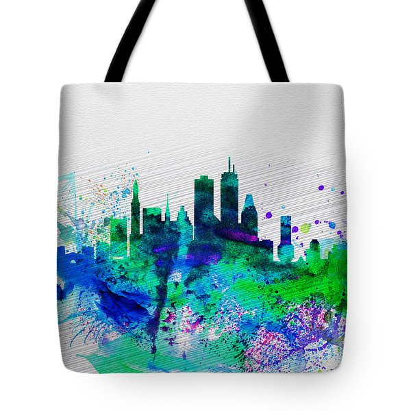 Boston Watercolor Skyline Tote Bag by Naxart Studio