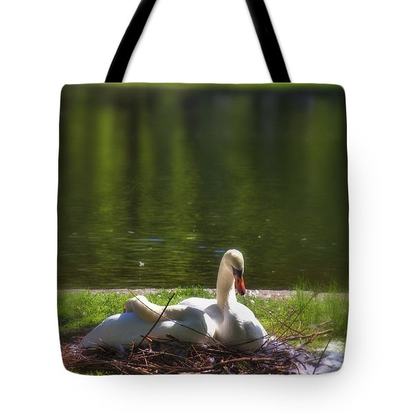 Boston's Romeo And Juliet Swans Tote Bag by Joann Vitali