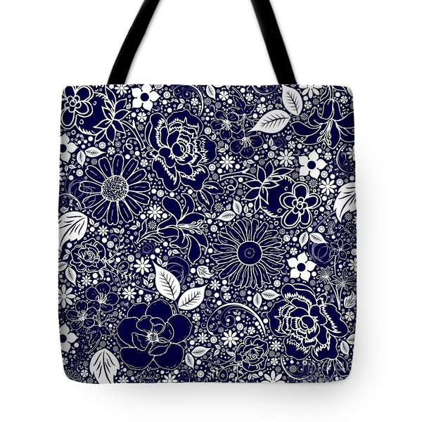 Botanical Beauties Blue Tote Bag by Margaret Newcomb
