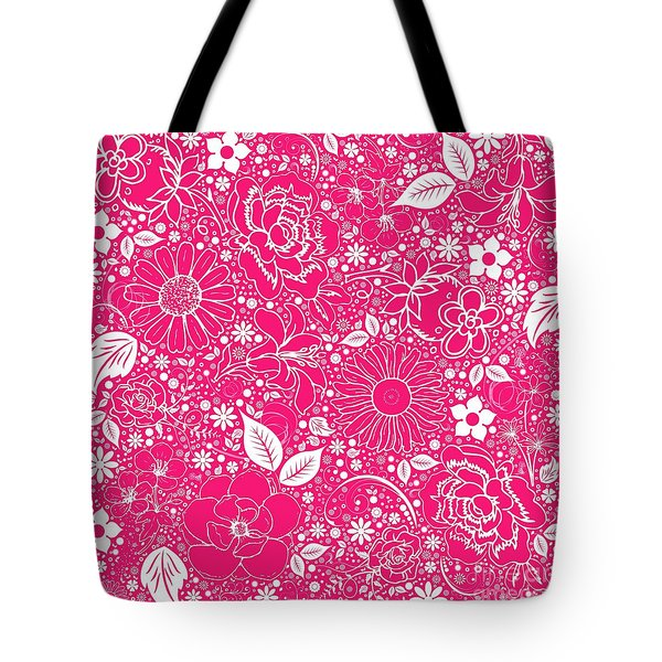 Botanical Beauties Hot Pink Tote Bag by Margaret Newcomb