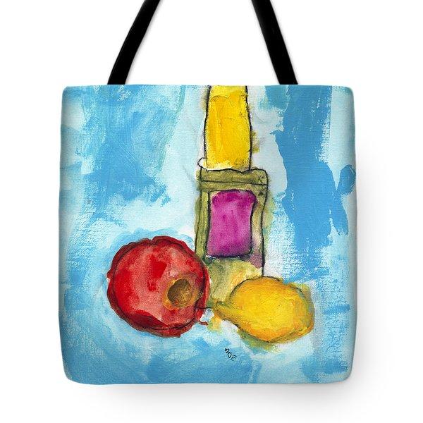 Bottle Apple And Lemon Tote Bag by Skip Nall