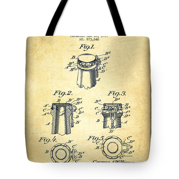 Bottle Cap Fastener Patent Drawing From 1907 - Vintage Tote Bag