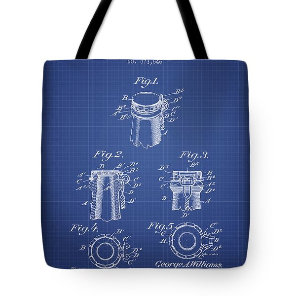 Bottle Cap Fastener Patent From 1907- Blueprint Tote Bag
