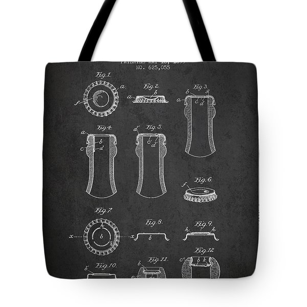 Bottle Cap Patent Drawing From 1899 - Dark Tote Bag