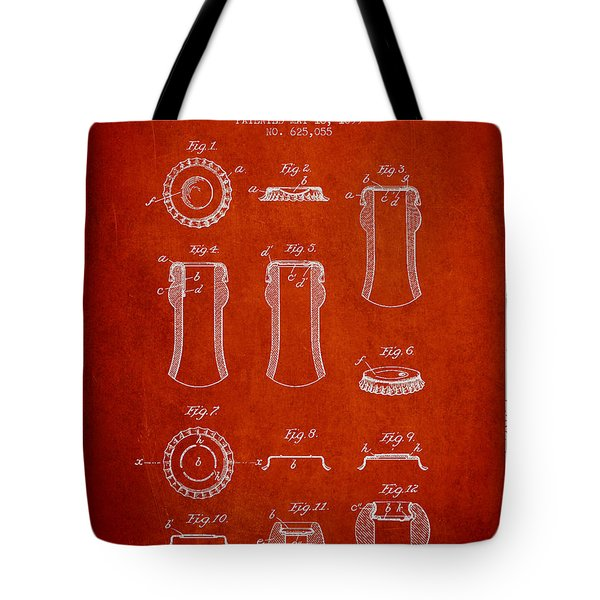 Bottle Cap Patent Drawing From 1899 - Red Tote Bag