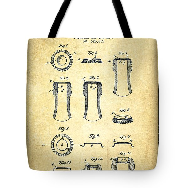 Bottle Cap Patent Drawing From 1899 - Vintage Tote Bag