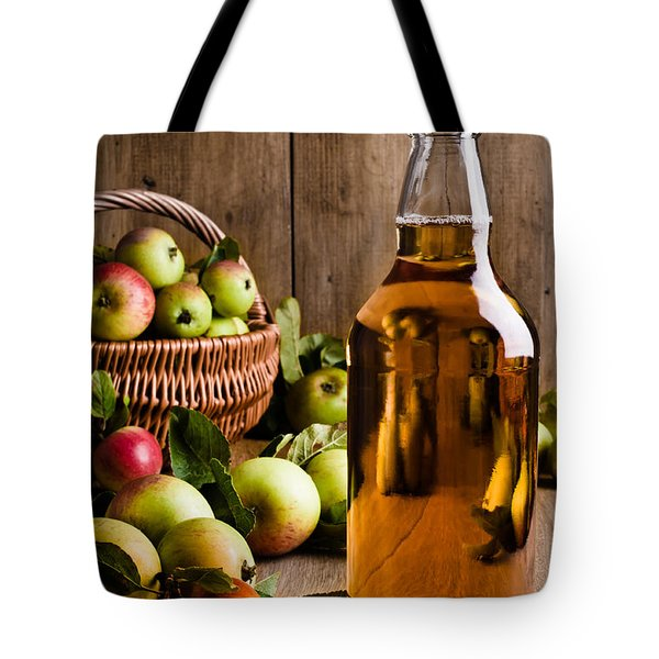 Bottled Cider With Apples Tote Bag by Amanda Elwell