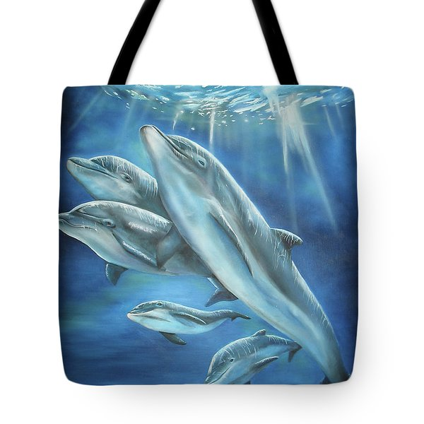 Bottlenose Dolphins Tote Bag by Thomas J Herring