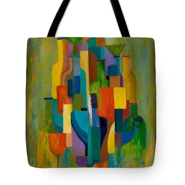 Bottles And Glasses Tote Bag by Larry Martin