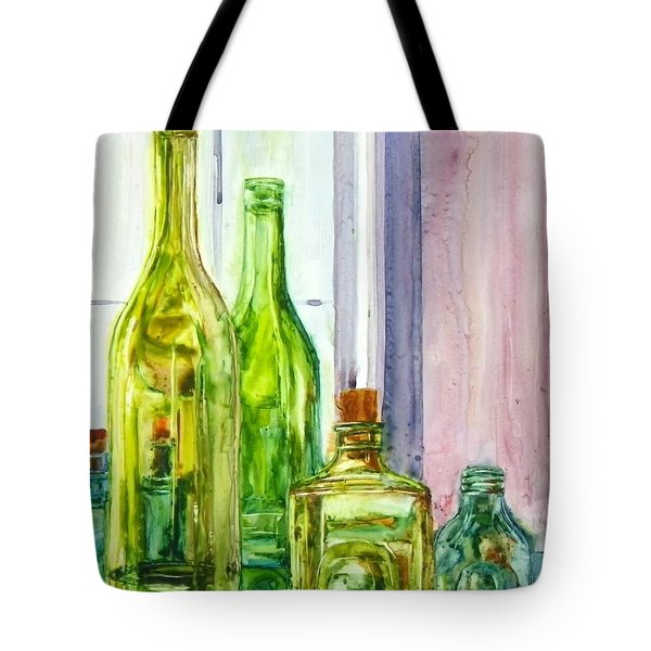 Bottles - Shades Of Green Tote Bag
