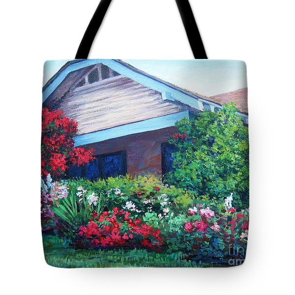 Tote Bag featuring the painting Bougainvillea House by Cheryl Del Toro