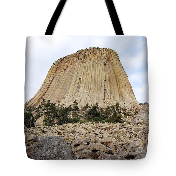Tote Bag featuring the photograph Boulder Field Beneath Devils Tower National Monument Wyoming Usa by Shawn O'Brien