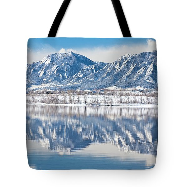 Boulder Reservoir Flatirons Reflections Boulder Colorado Tote Bag