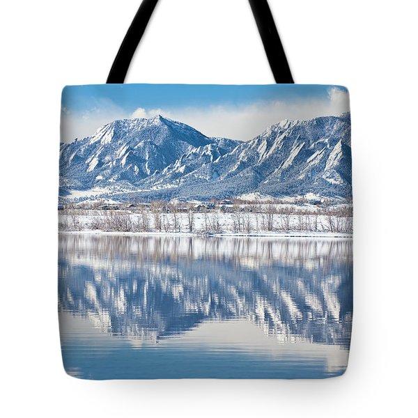 Boulder Reservoir Flatirons Reflections Boulder Colorado Tote Bag