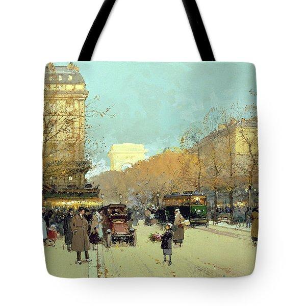 Boulevard Haussmann In Paris Tote Bag by Eugene Galien-Laloue
