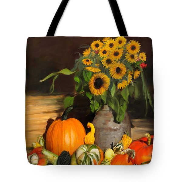 Bountiful Harvest - Floral Painting Tote Bag by Enzie Shahmiri