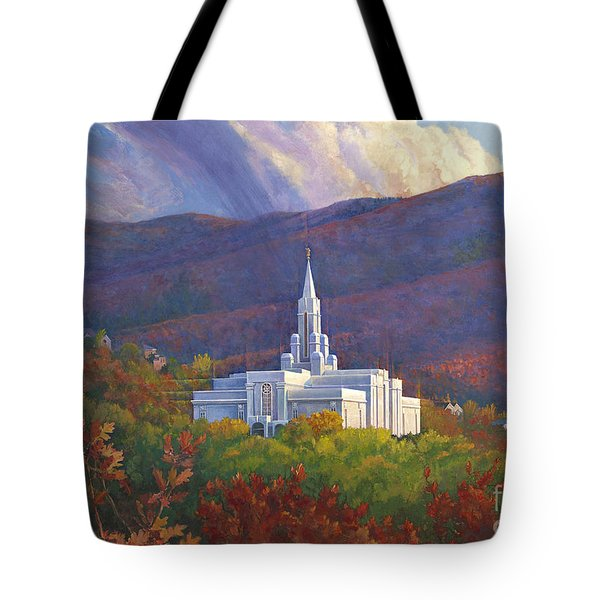 Bountiful Temple In The Mountains Tote Bag by Rob Corsetti