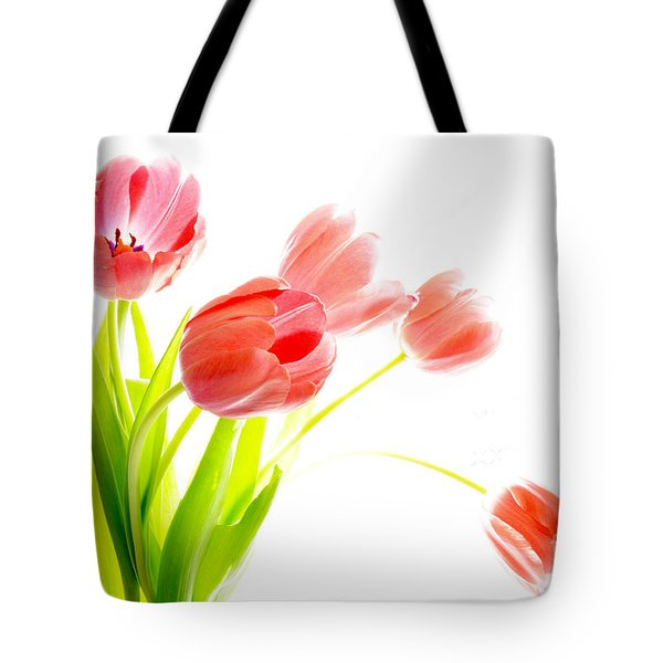 Tulips Flower Bouque In Digital Watercolor Tote Bag