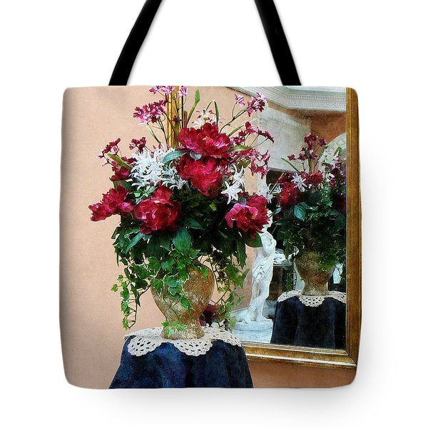 Bouquet Of Peonies With Reflection Tote Bag by Susan Savad