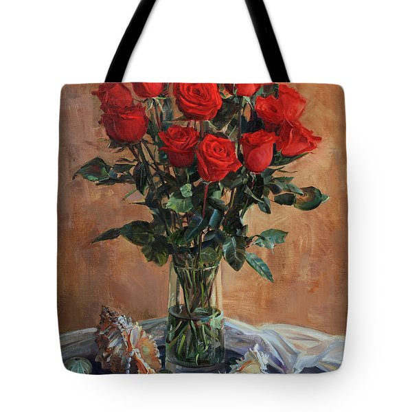 Bouquet Of Red Roses On The Birthday Tote Bag