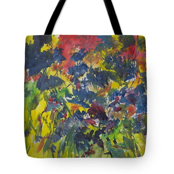 Tote Bag featuring the painting Bouquet With Blue Flowers by Avonelle Kelsey