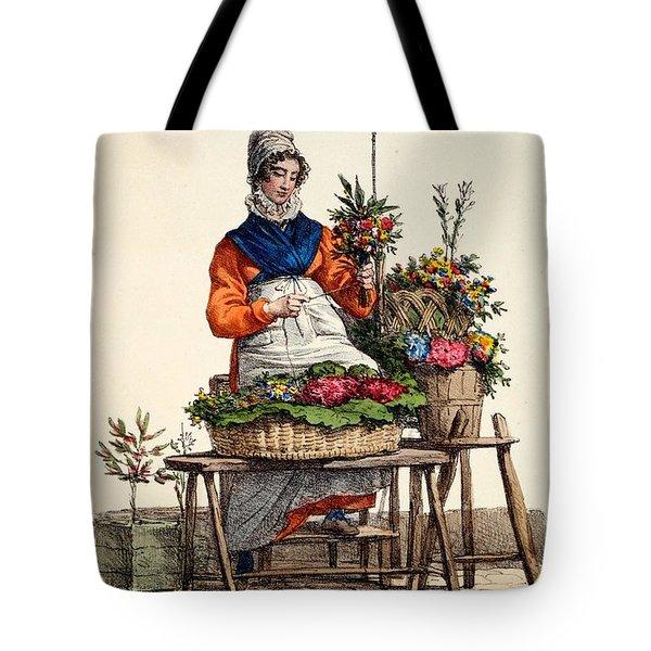 Bouquetiere Des Bouquets Pour Margot Tote Bag by Carle Vernet