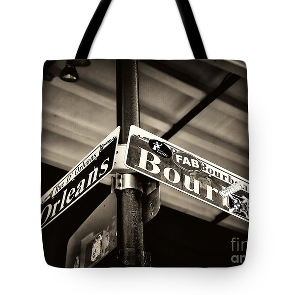 Bourbon And Orleans Tote Bag by John Rizzuto