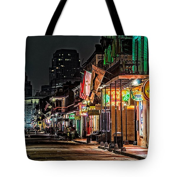 Bourbon Street Glow Tote Bag by Andy Crawford
