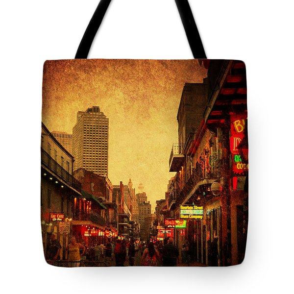 Tote Bag featuring the photograph Bourbon Street Grunge by Judy Hall-Folde