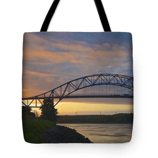 Tote Bag featuring the photograph Bourne Bridge Sunrise by Amazing Jules