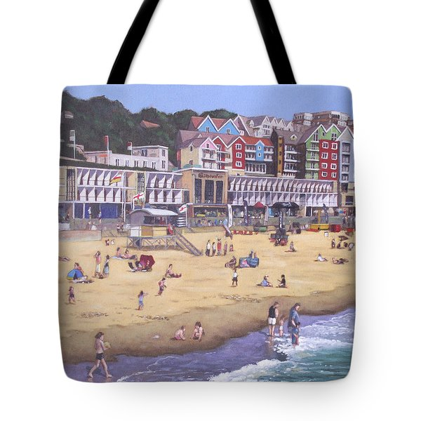 Bournemouth Boscombe Beach Sea Front Tote Bag by Martin Davey