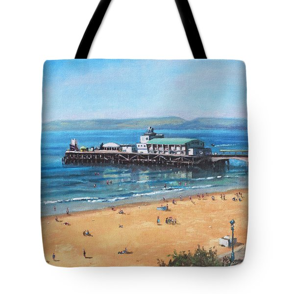 Bournemouth Pier Summer Morning From Cliff Top Tote Bag