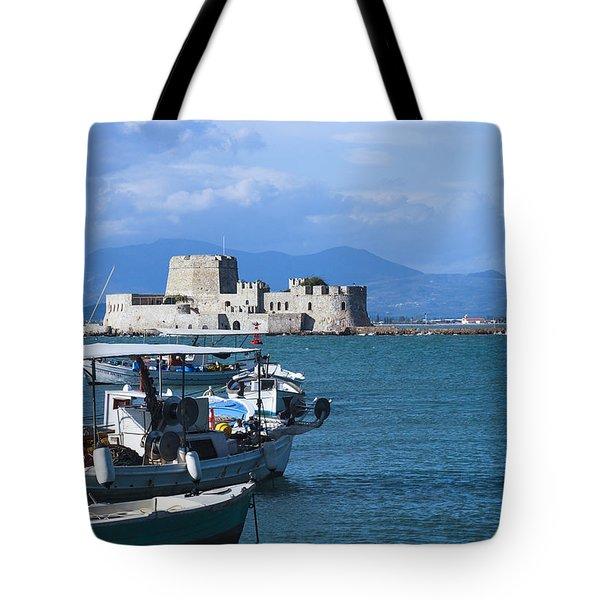 Bourtzi And Boats Tote Bag