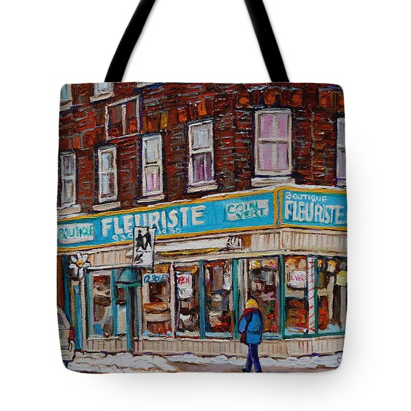 Boutique Fleuriste Coin Vert Montreal Tote Bag by Carole Spandau