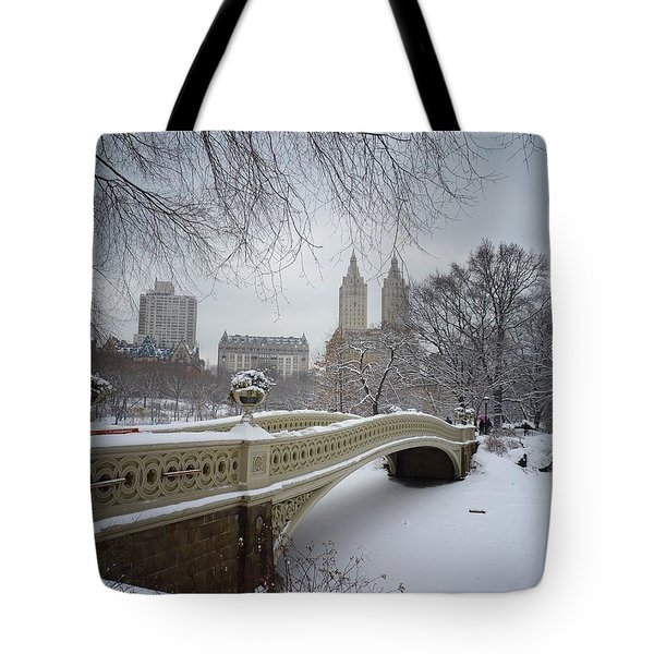 Bow Bridge Central Park In Winter  Tote Bag