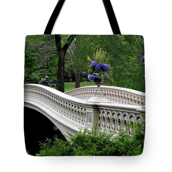 Bow Bridge Flower Pots - Central Park N Y C Tote Bag by Christiane Schulze Art And Photography