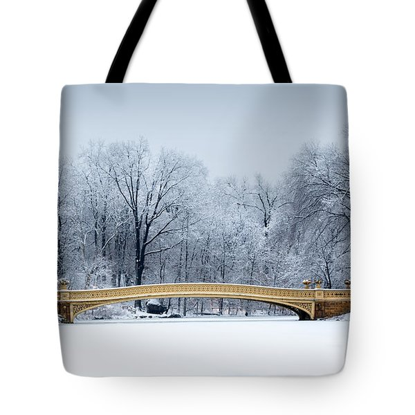 Tote Bag featuring the photograph Bow Bridge In Central Park Nyc by Mihai Andritoiu