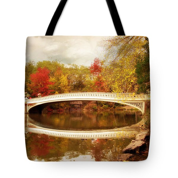 Tote Bag featuring the photograph Bow Bridge Reflected by Jessica Jenney