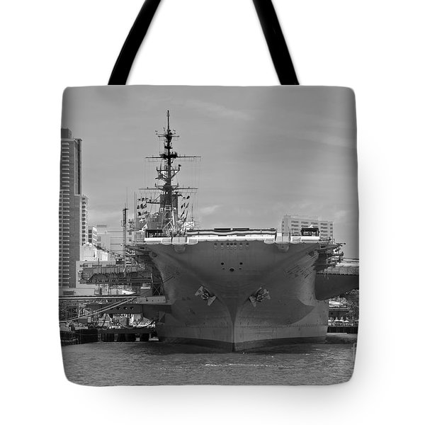 Bow Of The Uss Midway Museum Cv 41 Aircraft Carrier - Black And White Tote Bag by Claudia Ellis