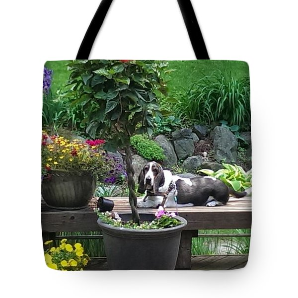 Bowie In The Garden Tote Bag